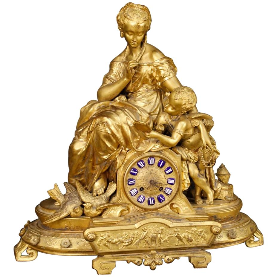 20th Century Chiselled and Gilt Antimony French Clock, 1920