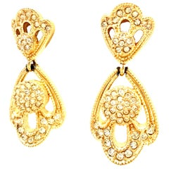 20th Century Christian Dior Pair Of Gold Plate & Austrian Crystal Drop Earrings