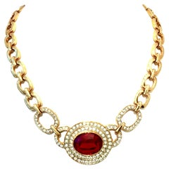 20th Century Christian Dior Style Gold & Austrian Crystal Choker Style Necklace
