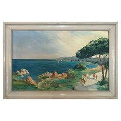 20th Century Christophe Charpidès Seaside Oil on Canvas, 1920s