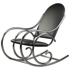 20th Century Chrome and Leatherette Rocking Chair in Thonet Style