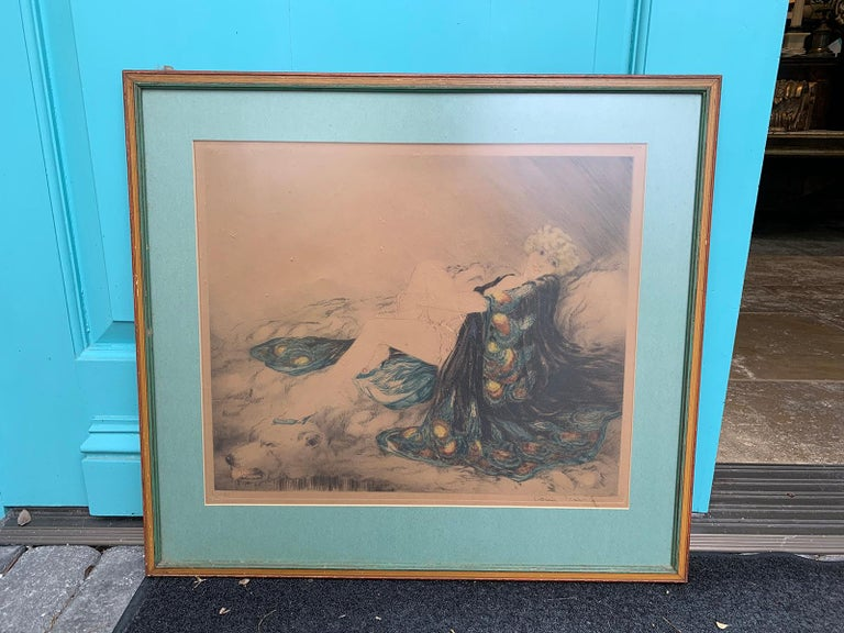20th Century circa 1926 French Hand Colored Etching by Louis Icart, Signed In Good Condition For Sale In Atlanta, GA