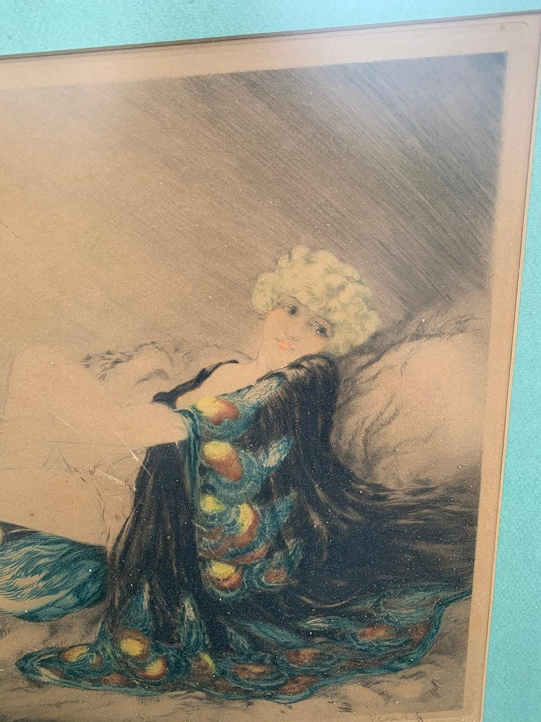 20th Century circa 1926 French Hand Colored Etching by Louis Icart, Signed For Sale 3
