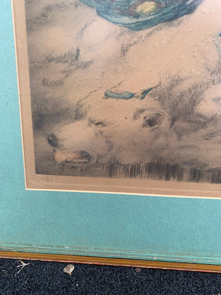 20th Century circa 1926 French Hand Colored Etching by Louis Icart, Signed For Sale 4