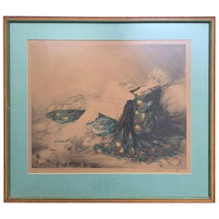 20th Century circa 1926 French Hand Colored Etching by Louis Icart, Signed