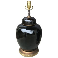 20th Century circa 1930s Chinese Black Mirror Porcelain Ginger Jar as Lamp