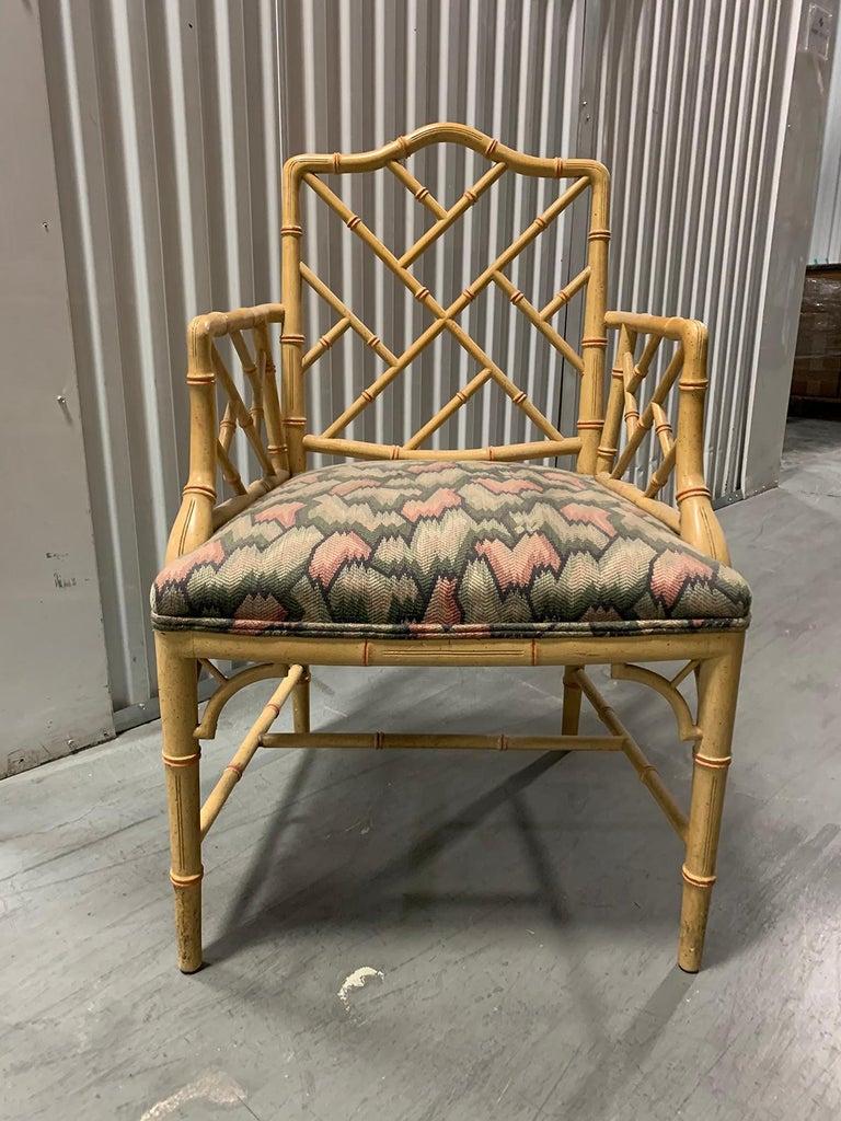 20th century circa 1970s Italian bamboo Fretwork armchair Measures: 22