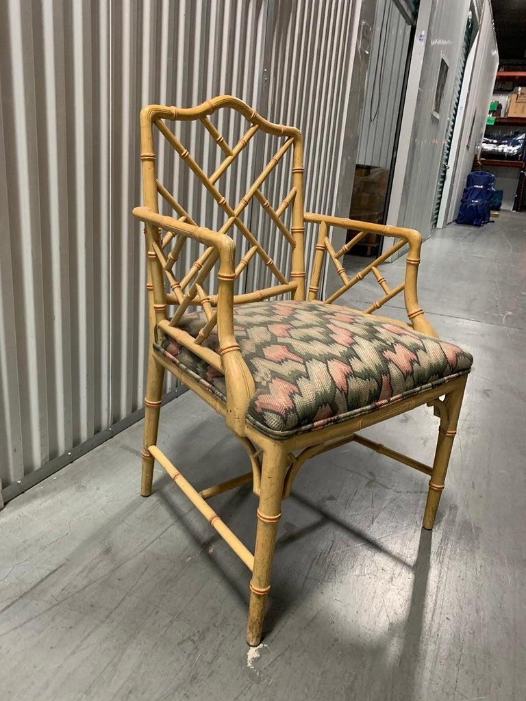 20th Century circa 1970s Italian Bamboo Fretwork Armchair In Good Condition For Sale In Atlanta, GA