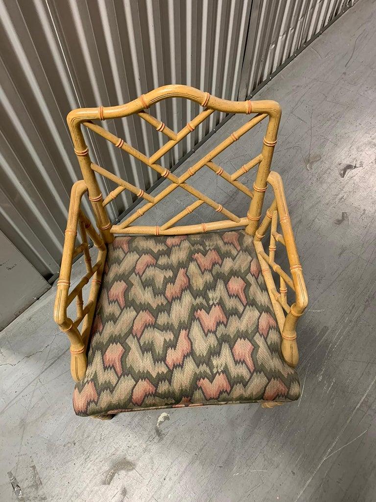 20th Century circa 1970s Italian Bamboo Fretwork Armchair For Sale 5