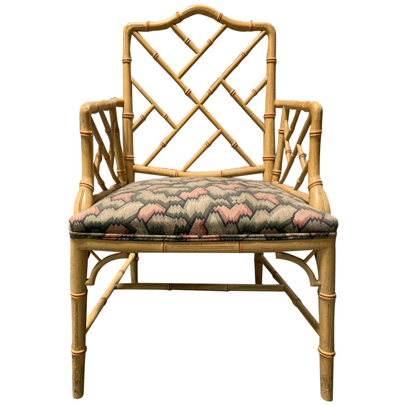 20th Century circa 1970s Italian Bamboo Fretwork Armchair
