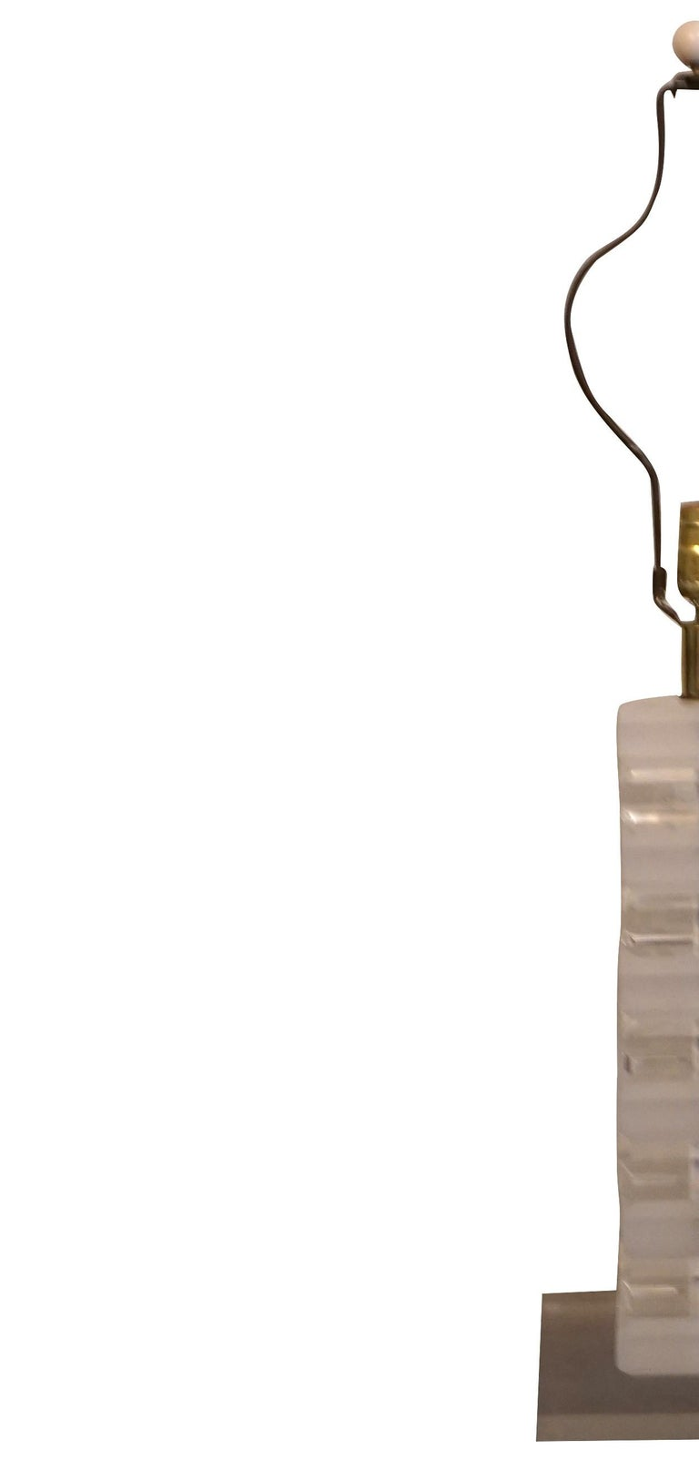 Mid-Century Modern clear frosted acrylic Lucite lamp in the style of Karl Springer, furnished without lamp shade.  Karl Springer was born in 1931 Berlin, Germany and passed away in 1991 Manhattan. Most of his time he lived in New York City where