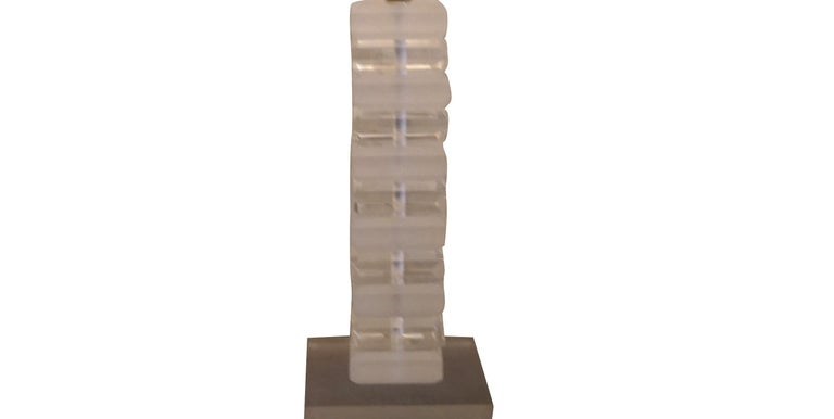 German 20th Century Clear Frosted Lucite Table Lamp by Karl Springer For Sale