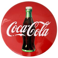 20th Century Coca-Cola Enamel Button and Bottle Advertising Sign