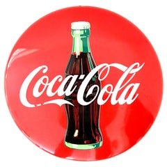20th Century Coca-Cola Enamel Iron Button and Bottle Advertising Sign-Signed
