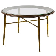 20th Century Coffee Table in Brass Wood and Circular Glass Top Italian School