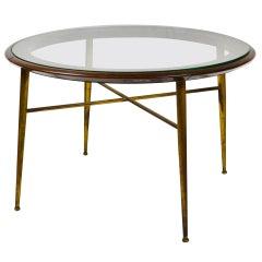 20th Century Coffee Table in Brass Wood and Circular Glass Top Italian School
