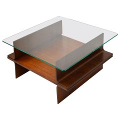 20th Century Coffee Table in Curved Wood Structure and Glass Top from 1960s