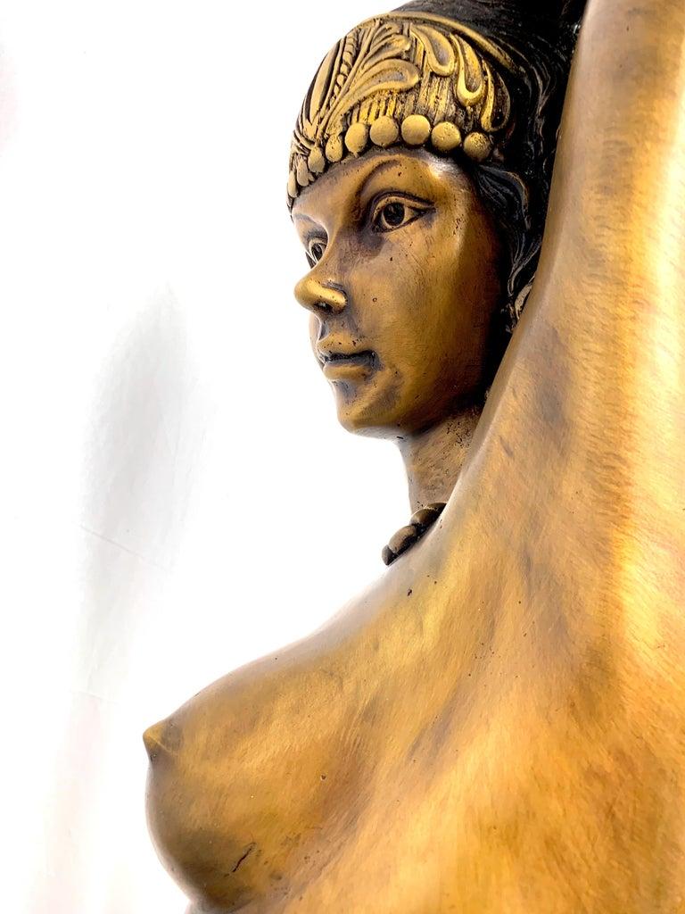 Bronze sculpture statue figurine vintage Art Deco erotic nude woman belly dancer.