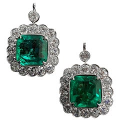 20th Century Colombian Emerald Old Cut Diamond Cluster Earrings Platinum Signed