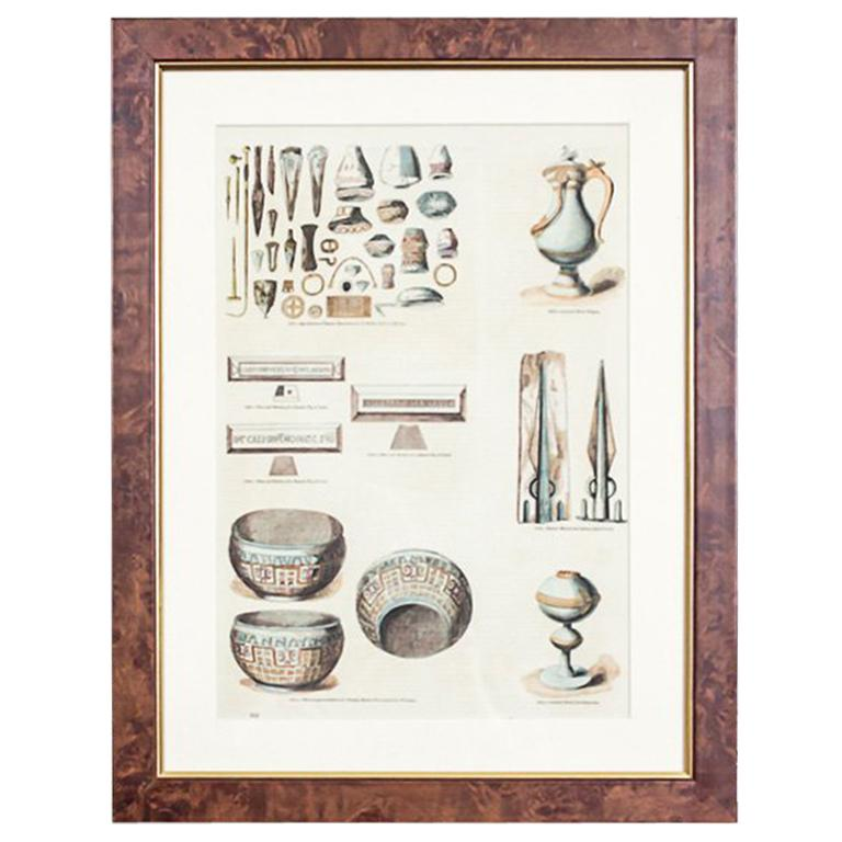 20th-Century Colorful Graphic Depicting Various Antique Items