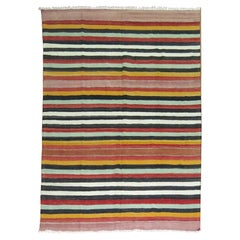 20th Century Colorful Kilim with Striped Motif