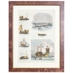 20th Century Colorful Print in a Frame – Ships