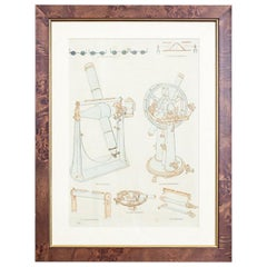 20th Century Colorful Print in a Frame – Telescopes