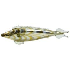 20th Century Colored Glass Fish Statue Sculpture