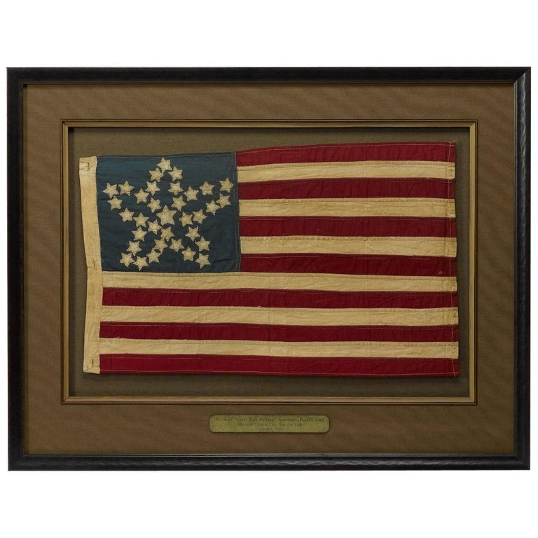 "20th Century Commemorative 34-Star American Flag with ""Great Star"" Pattern For Sale"
