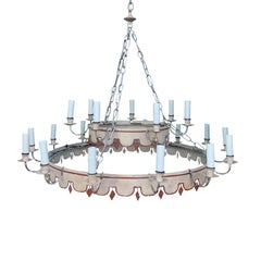 20th Century Continental Large Tole Two-Tier 21-Light Chandelier