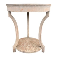 20th Century Continental Neoclassical Round Two-Tier Side Table, Old Finish