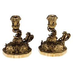 20th Century Continental Solid Silver Gilt Pair of Figural Chambersticks