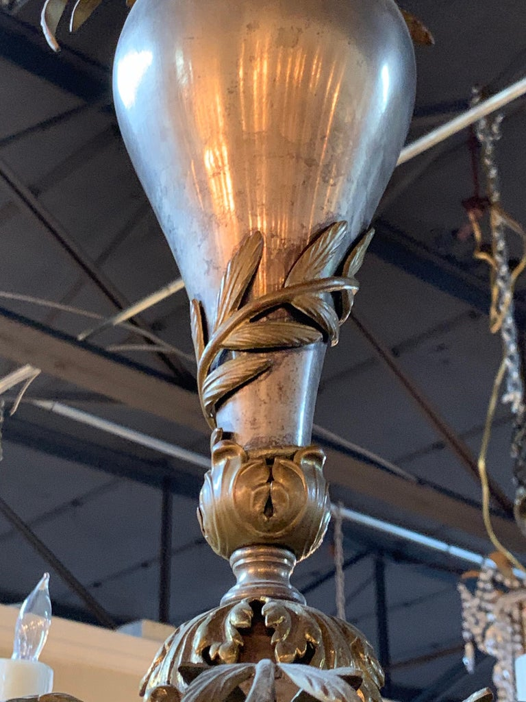 20th Century Continental Style Silvered Brass 6-Light Chandelier For Sale 2