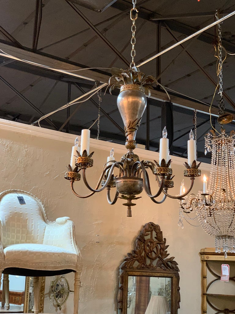 20th Century Continental Style Silvered Brass 6-Light Chandelier For Sale 4