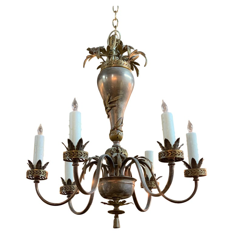 20th Century Continental Style Silvered Brass 6-Light Chandelier For Sale