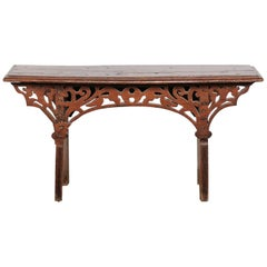 20th Century Continental Walnut Bench with Reticulated Carved Front, Labeled