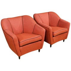 20th Century Coral Fabric Italian Design Armchairs, 1960