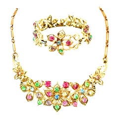 20th Century Coro Gold And Austrian Crystal Necklace & Bracelet  Set Of Two