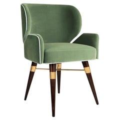 Cotton Louis I Dining Chair Walnut Legs Brass