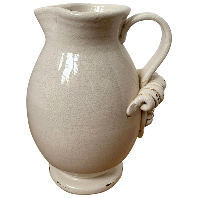 20th Century Creamware Jug / Pitcher with Applied Handle For Sale