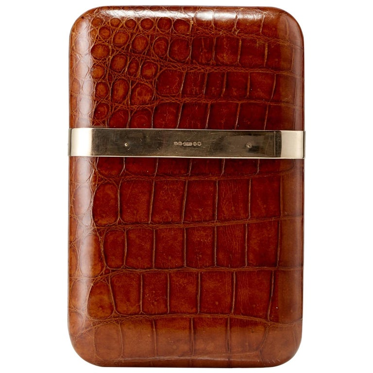 20th Century Crocodile Cigar Case with 9-Carat Gold Band London, circa 1915 For Sale