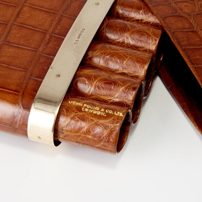 20th Century Crocodile Cigar Case with 9-Carat Gold Band London, circa 1915 In Excellent Condition For Sale In London, GB