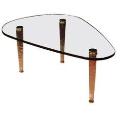 20th Century Crystal and Gilt Brass Italian Design Coffee Table, 1960
