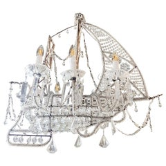 20th Century Crystal Beaded Ship Chandelier Attributed to the Maison Baguès