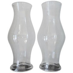 20th Century Crystal Mouth-Blown Hurricane Candle Shades