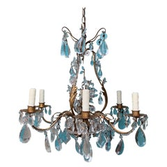 20th Century Crystal Six-Arm Chandelier Attributes to Maison Bagues