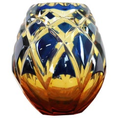 20th Century Crystal Vase in Blue and Amber Color by Agarthi