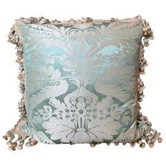 20th Century Custom Silk Damask Pillow with Tassel Fringe