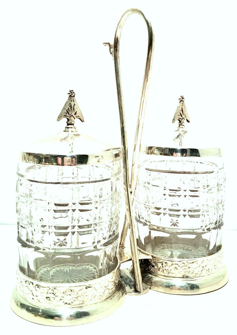 20th Century Cut Crystal & Silver Plate Cruet Set of Three Pieces In Good Condition For Sale In West Palm Beach, FL