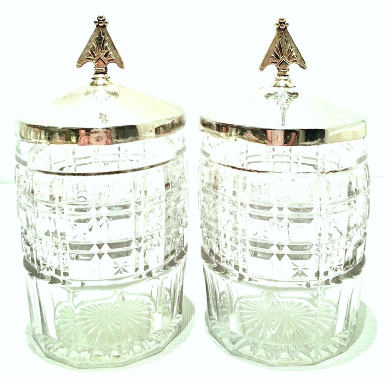 20th Century Cut Crystal & Silver Plate Cruet Set of Three Pieces For Sale 1